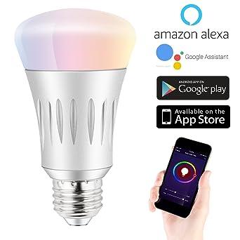 879e03e4f47c Expower Smart WiFi Licht, dimmbar 7 W RGB LED Birne E27 kompatibel mit  AMAZON Alexa