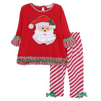 bornbay bebé 2pcs navidad traje niña pijama de manga larga ...