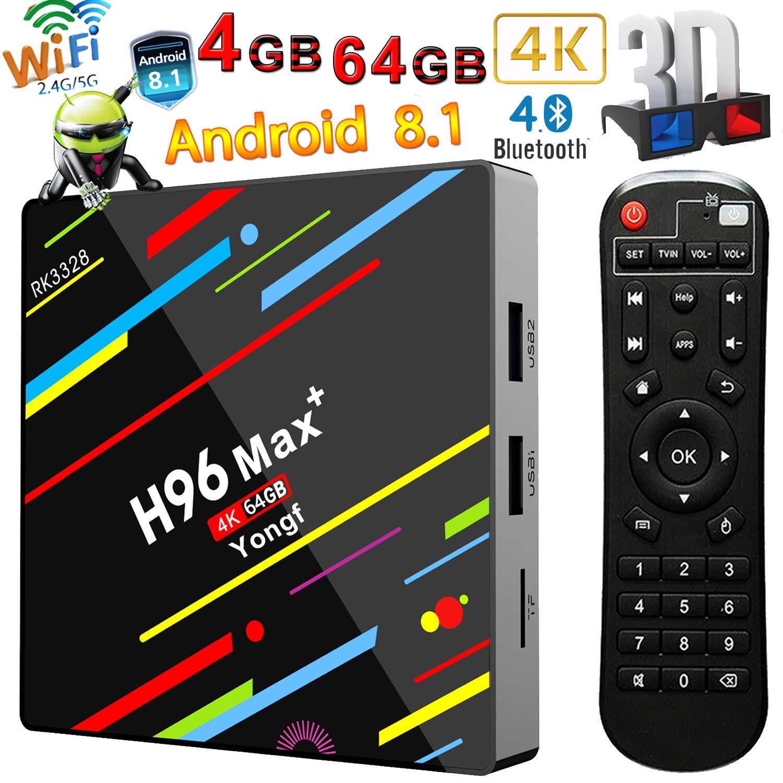 Amazon com: Android 8 1 TV Box, Yongf H96 MAX+ Quad Core 4GB