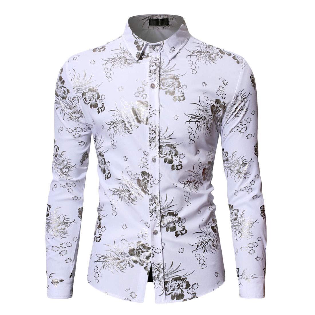 OTW Mens Gilding Long Sleeve Plus Size Slim Fit Print Button Up Dress Work Shirt