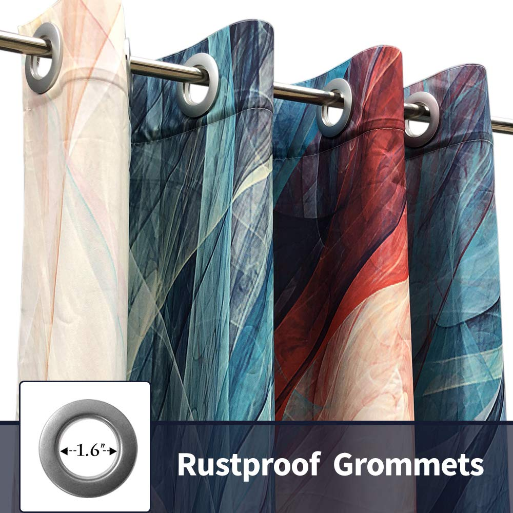 Pro Space 58 X 84 Inch Outdoor Curtain Colored Lines Print Curtain Gazebo Patio Curtain Drape Grommet Top Blackout Porch Blackout Protected Waterproof Curtain Drape 1 Panel Patio Lawn Garden Coastalcameraclub Outdoor Décor