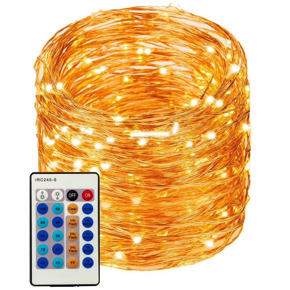 LED String Lights 99ft 300 LEDs String Lights Dimmable with Remote Control, Waterproof Lights for Bedroom, Parties, Garden, Wedding, Yard, (Copper Wire Lights, Warm White) (暖白99ft) by Bright starl (Image #1)