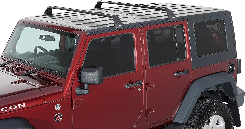 Rhino-Rack Aero Bar 4WD SUV Roof Racks Gutter Mount Base Rack for Jeep Wrangler JK//JL 4 Door Hard Top 2011-2020 in Black 2 Set