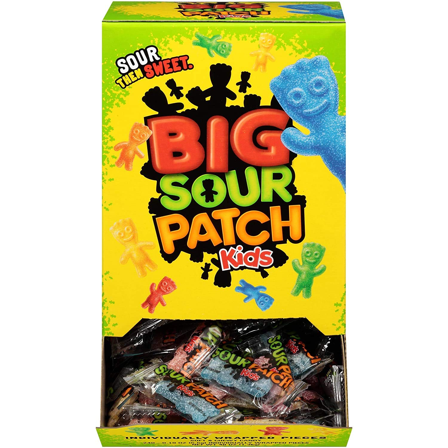 SOUR PATCH KIDS Big Individually Wrapped Soft & Chewy Candy, 240 Count : Sour Flavored Candies : Grocery & Gourmet Food
