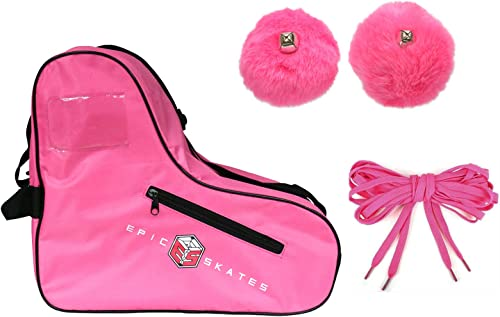 Epic Pink Roller Skate Accessory 3 Pc. Bundle w Bag, Laces, Pompoms