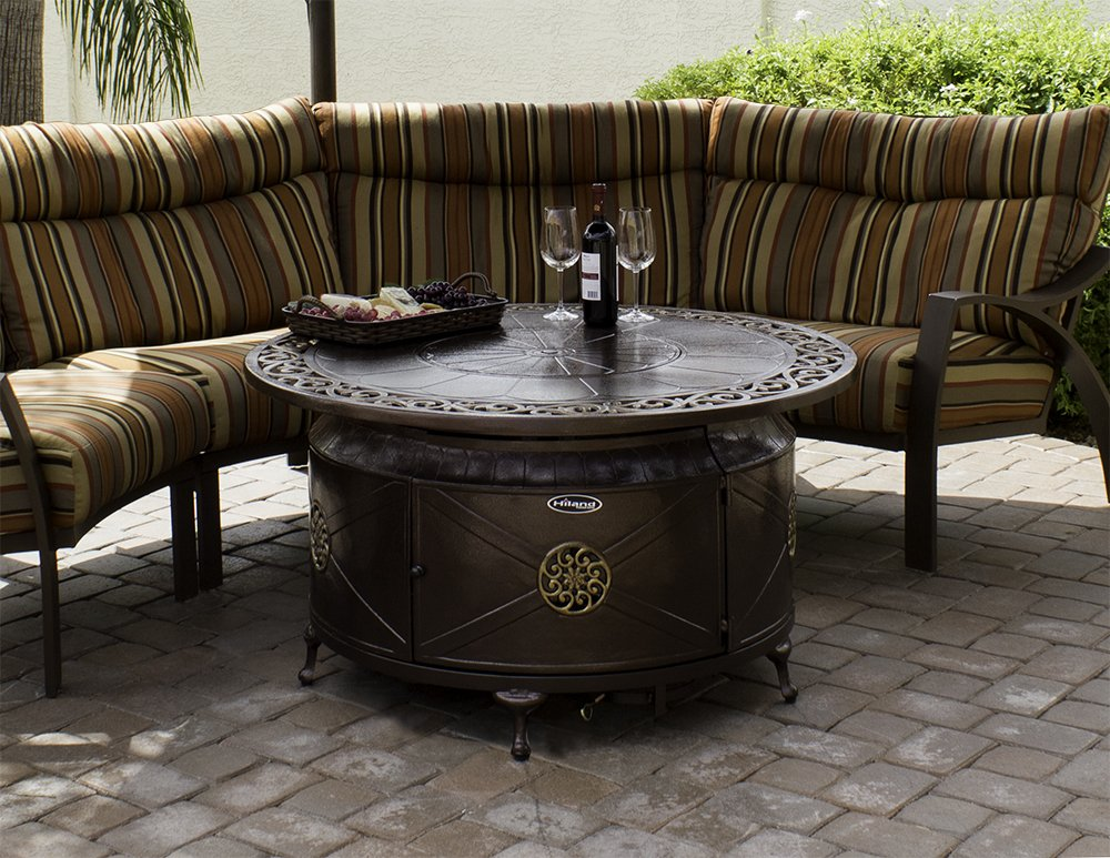 Amazon.com : AZ Patio Heaters HIL FP 1201 Round Cast Aluminum Decorative  Fire Pit, Bronze, Includes Clear Fire Glass : Garden U0026 Outdoor
