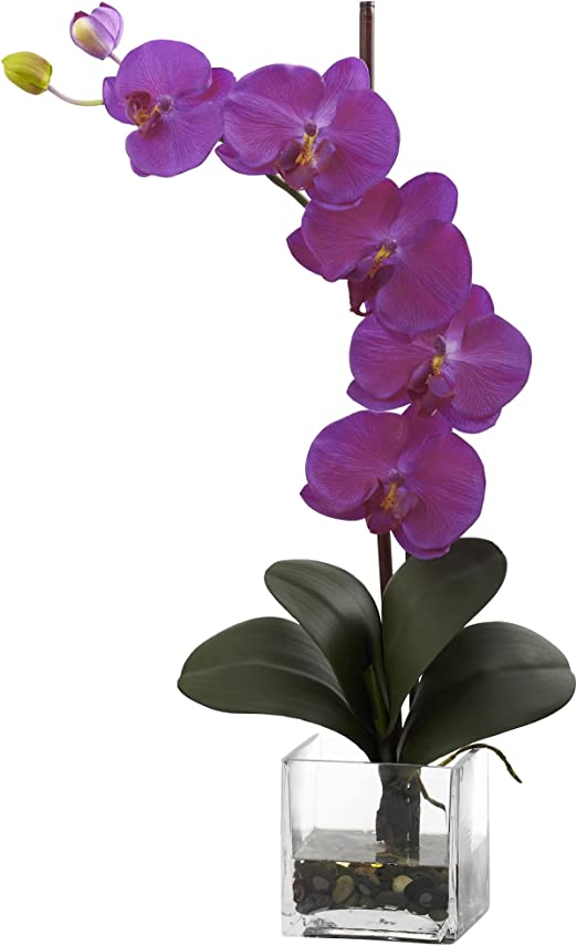 Nearly Natural 1324-OR Giant Phalaenopsis Orchid with Vase Arrangement Orchid