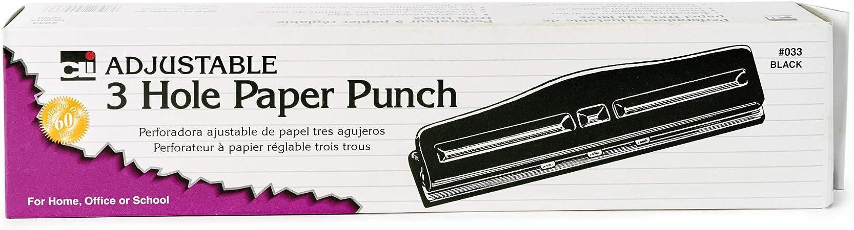 Charles Leonard 3-Hole Paper Punch 1-24 Adjustable Holes 12 Sheet Small