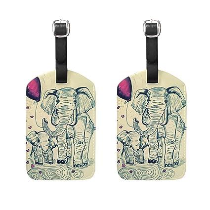 COOSUN Pintura elefantes Etiquetas de equipaje de viaje Etiquetas Titular Nombre de la etiqueta Tarjeta para