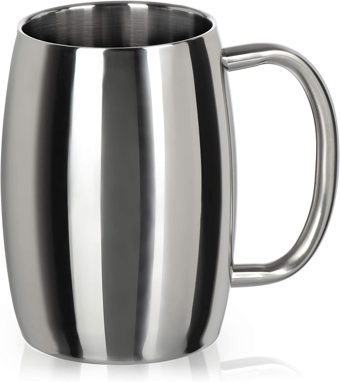 COM-FOUR® Taza de acero inoxidable XL - Taza de cerveza de 400 ml de acero inoxidable - taza de acero inoxidable - taza de camping de doble pared y sin BPA (color plata - brillante)