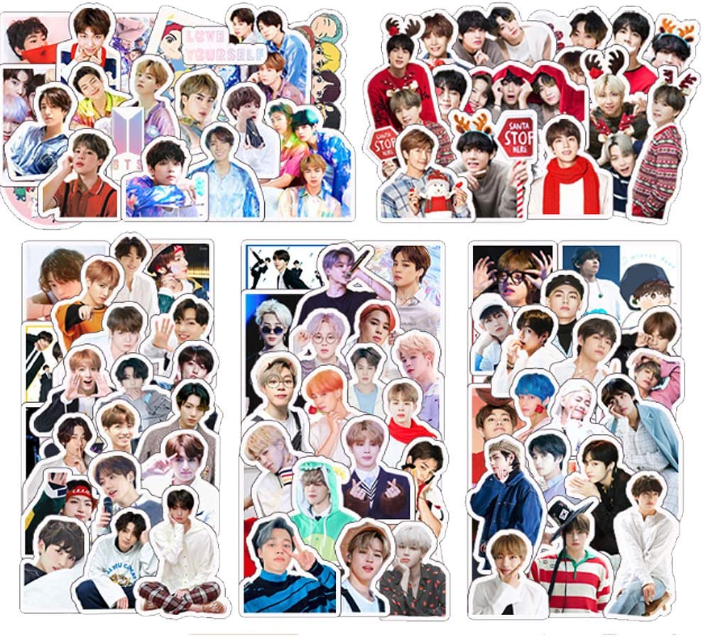 100Pcs BTS Sticker Cartoon Poster Laptop Sticker Kpop Sticker Pack JIN Jimin V SUGA Jungkook Sticker Pack Laptop Sticker Vinyl Skateboard Guitar Travel Case Sticker Luggage Car Bike Bicycle Stickers