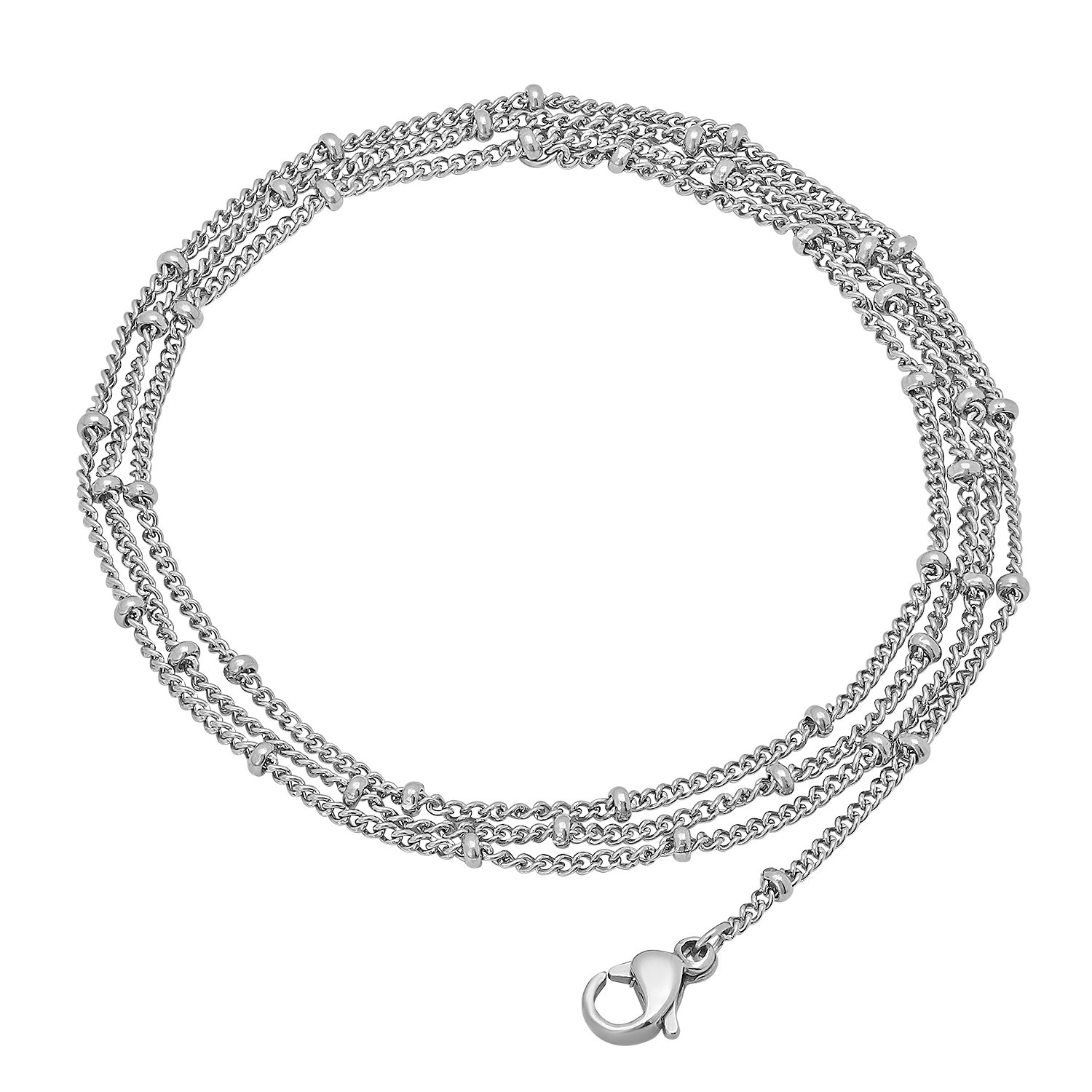 20 The Bling Factory 2.2mm Stainless Steel Station Bead Curb Link Chain Necklace