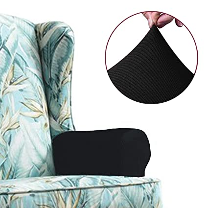 Chelzen Stretch Sofa Armrest Covers Set Of 2 Striped Fabric Arm Slipcovers Protectors For Couch Chair And Recliner Armrest Covers Black