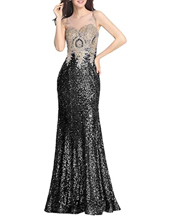 YSMei Womens Long Sequins Prom Formal Gowns Evening Celebrity Dress Gold Lace Mermaid Black 2