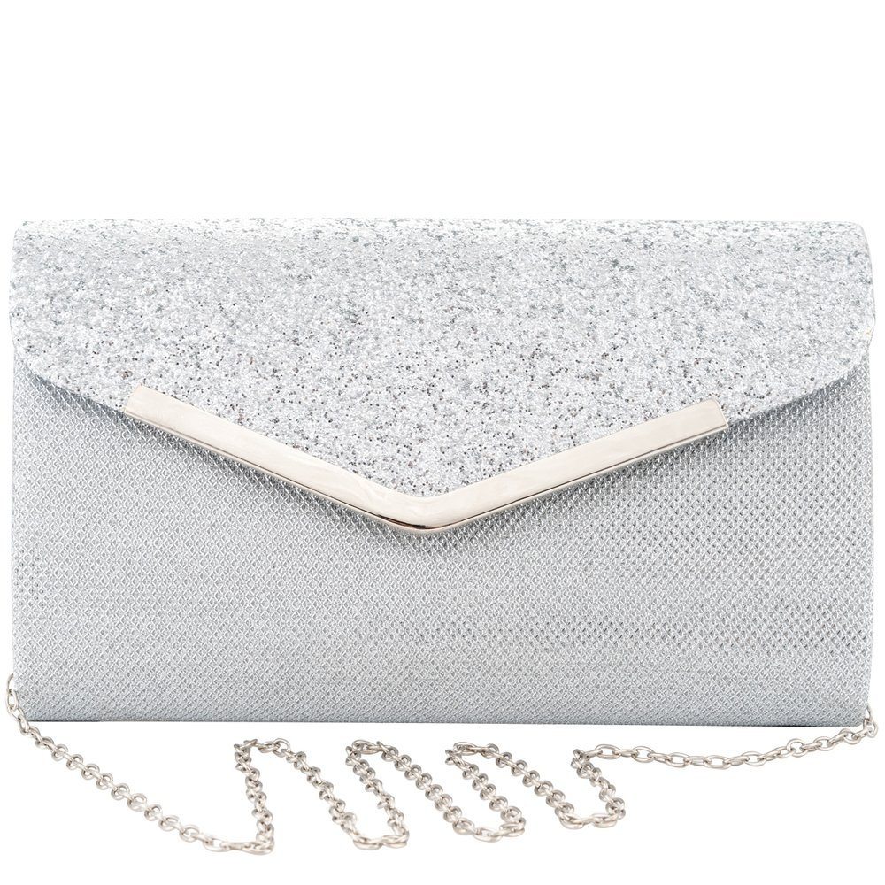 Womens Evening Clutch, Glittering Shininig Envelope Clutches Purse, Handbag for Wedding Parties and Cocktail Prom (Silver)
