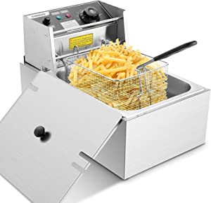 Deep Fryer with Removable Basket and Lid, 1700W 6.34QT Electric Deep Fryer, Stainless Steel Countertop French Fryer for Home Kitchen Restaurant, Ideal for Fish, Turkey, French Fries (6L)
