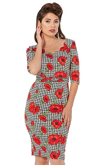 9a09f9008c VOODOO VIXEN Eloise Poppy Print Wiggle Dress  Amazon.co.uk  Clothing