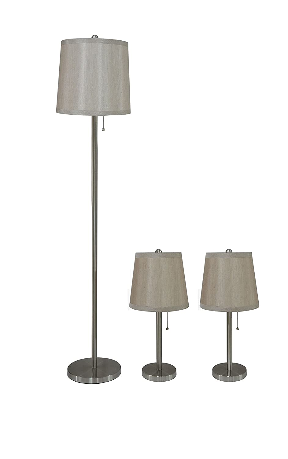Urbanest Lamon 3-Piece Table and Floor Lamp Set in Brushed Nickel with Champagne Silk Lamp Shades
