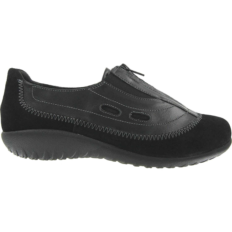 Naot Women's Megumi Mary Jane Flat, Black Madras Leather/Black Suede, 37 EU/6-6.5 M US