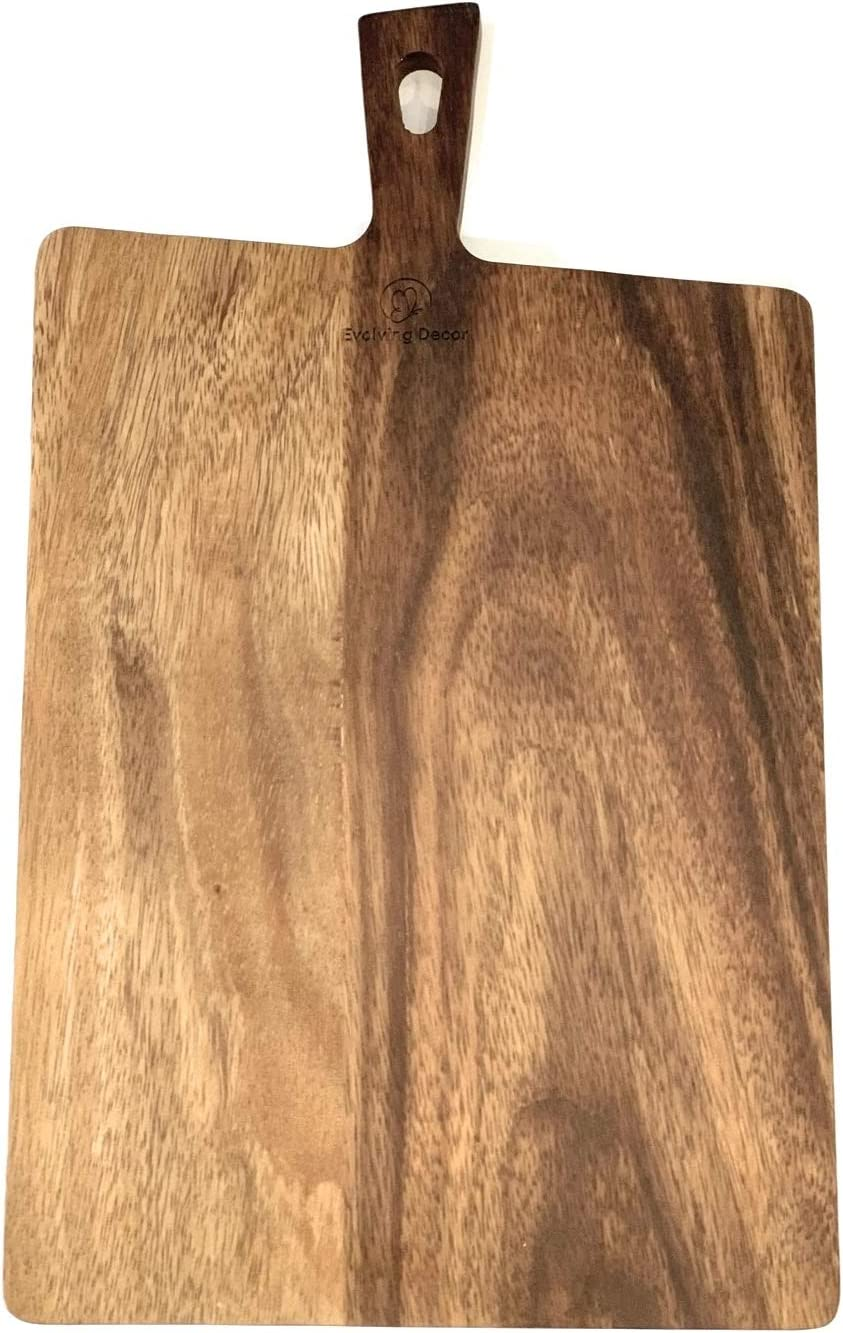 Evolving Decor Acacia Wood Cutting Board, Serving Tray,Bread Board,Cheese Platter, also for fruits and vegetables, Rectangle (16 1/2 x 9 1/2 x 1/2) Adds Style to your kitchen