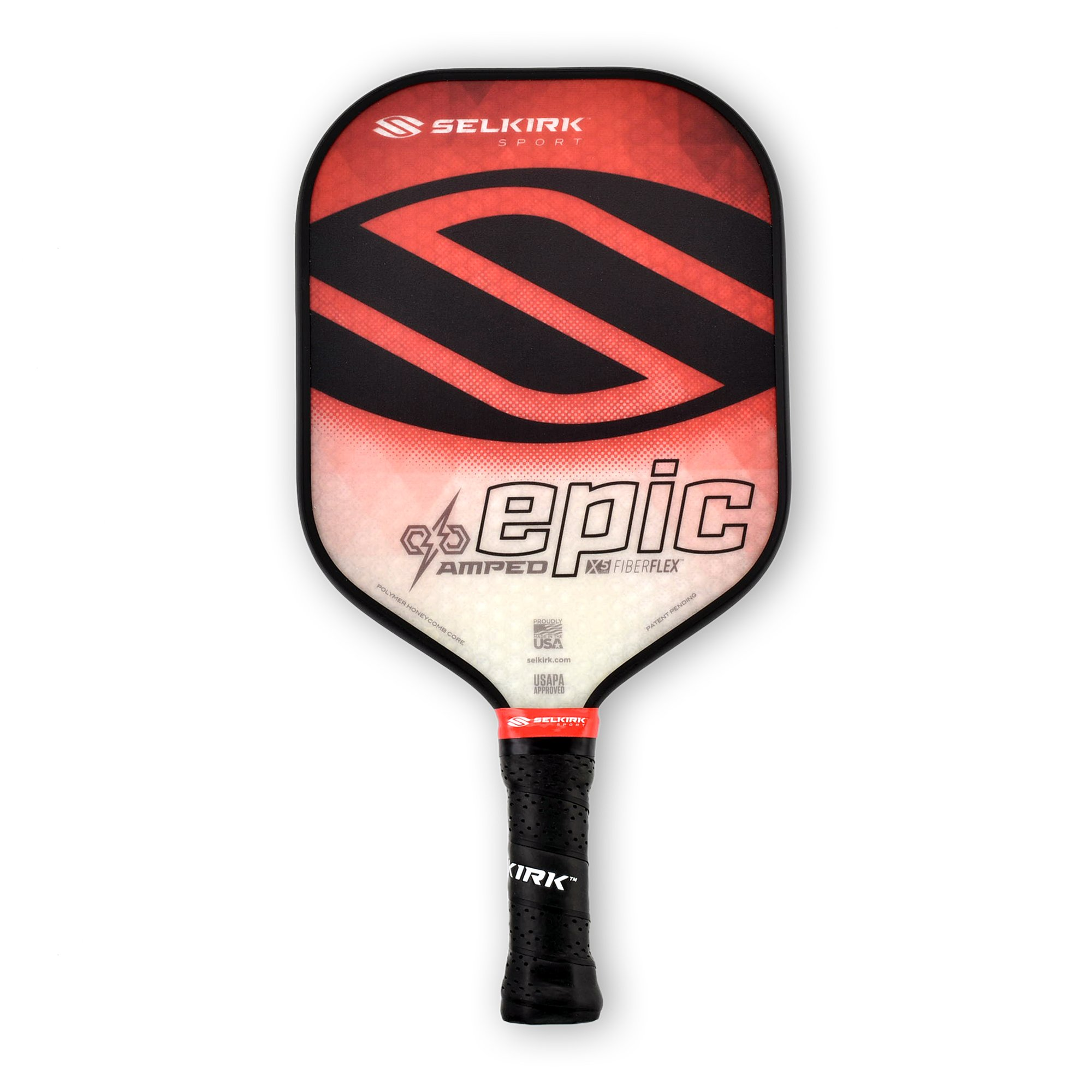Selkirk Amped Pickleball Paddle - USAPA Approved - X5 Polypropylene Core - FiberFlex Fiberglass Face - 5 Sizes: Epic, S2, Omni, Maxima, and INVIKTA (Epic Midweight - Ruby Red)