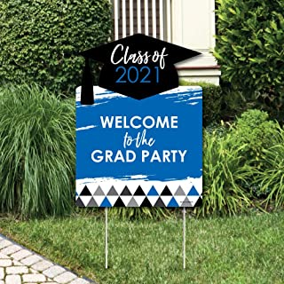 product image for Big Dot of Happiness Blue Grad - Best is Yet to Come - Party Decorations - Royal Blue 2021 Graduation Party Welcome Yard Sign