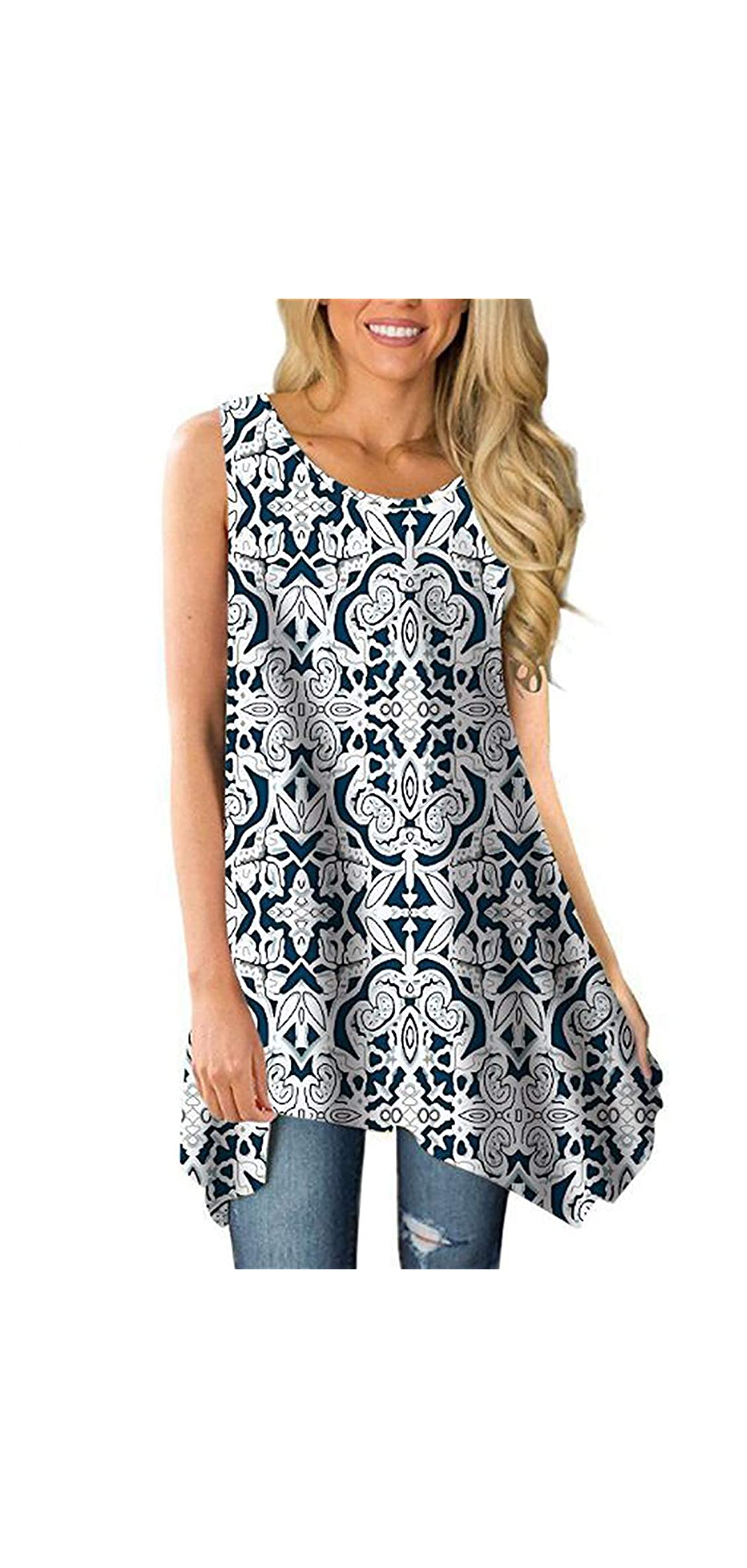 Womens Sleeveless Tunic Tank Tops Crew Neck Loose Flowy