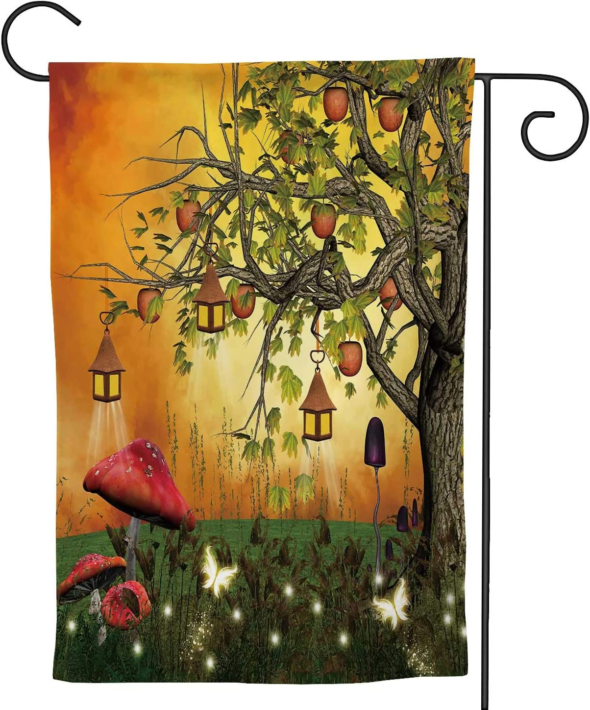 C COABALLA Tree with s and Lanterns in an Enchanted Glade, Watercolor Garden Flag Double Sized, Rustic Yard Outdoor Decoration 28''x40''