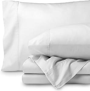 Bare Home Egyptian Cotton 300 Thread Count Sateen Queen Sheet Set (Queen, Créme White)