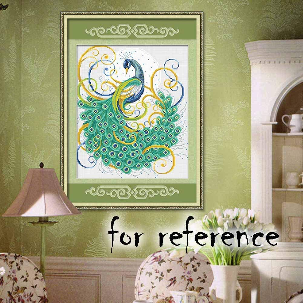 13x15 inch Pigeon Fleet DIY Gorgeous Peacock Stamped Cross Stitch Kit Embroidery Kits Living Room Wall Decor