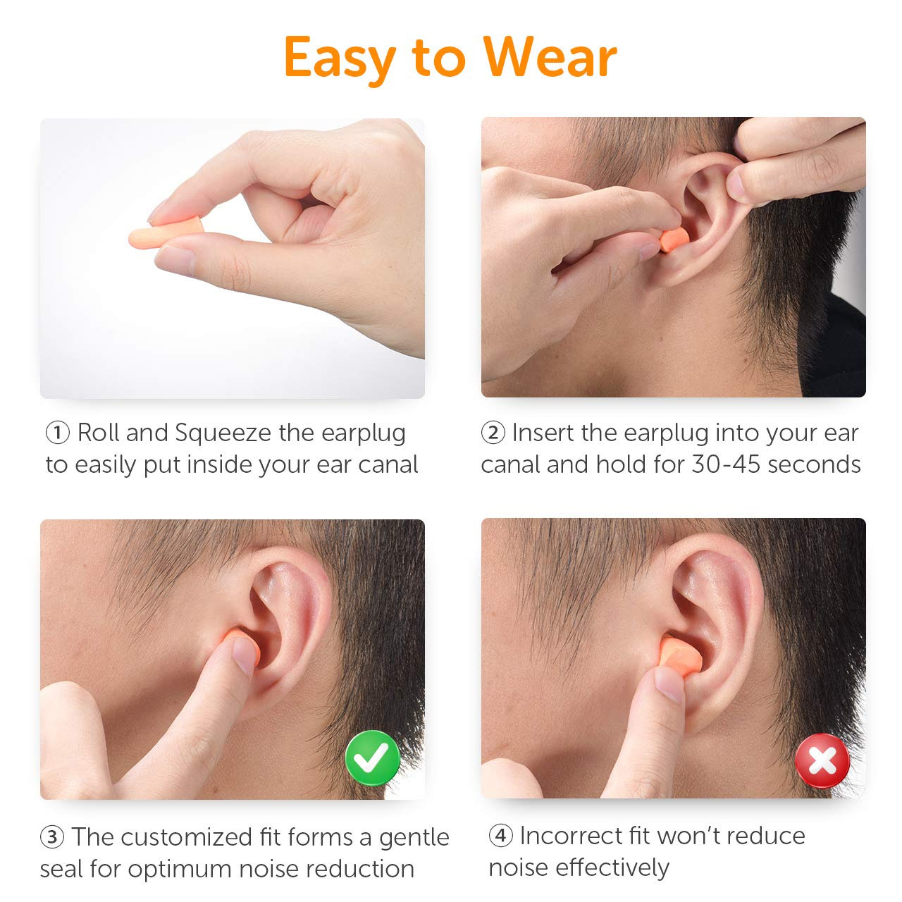 Mpow 072 Earplugs 60 Pairs Individually Wrapped, 32dB NRR Soft Ear Plug, Noise Reduction For Hearing Protection, Sleeping, Shooting, Traveling, Working, Constructing by Mpow (Image #5)