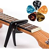 Ukulele Capo Clamp Key Uke Trigger Black with 5 Ukelele Picks