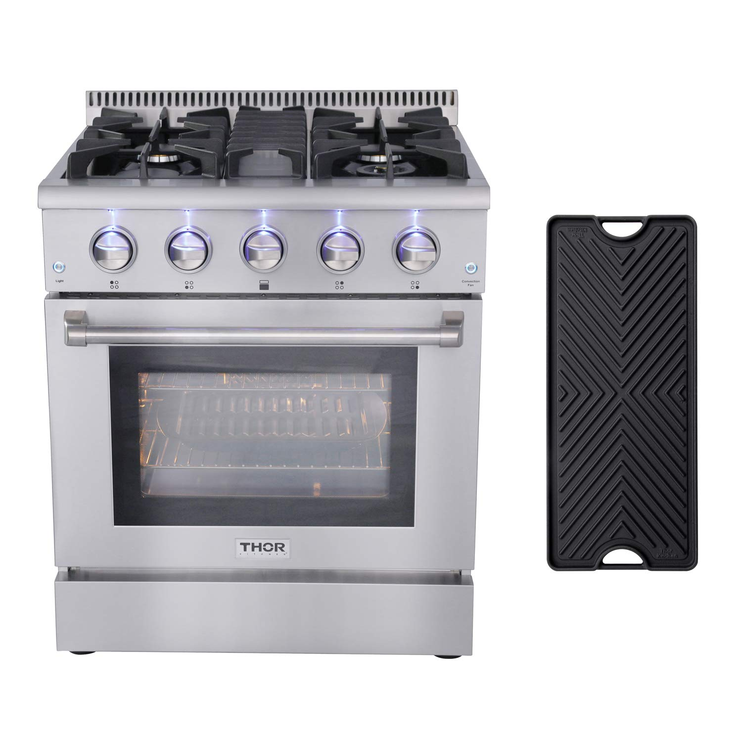 Thor Kitchen HRG3080U 30'' Gas Range Freestanding Professional Style with 4.2 cu.ft Convection Oven in Stainless Steel, 4 Burners, Cast-Iron Reversible Griddle