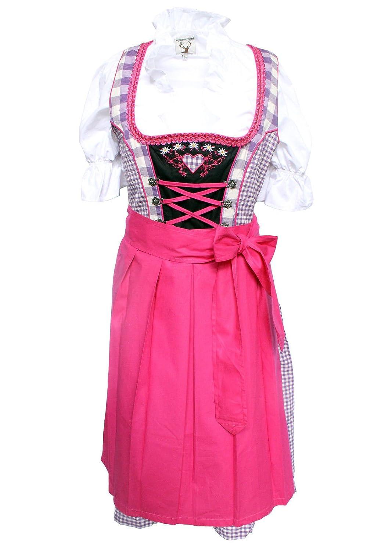 alpen cuento, 3 piezas. tirolesa de Juego - Traje Tradicional vestido, blusa, delantal, lila de color fucsia (disponible en varios tamaños) Lila-Fuchsia 36 ...