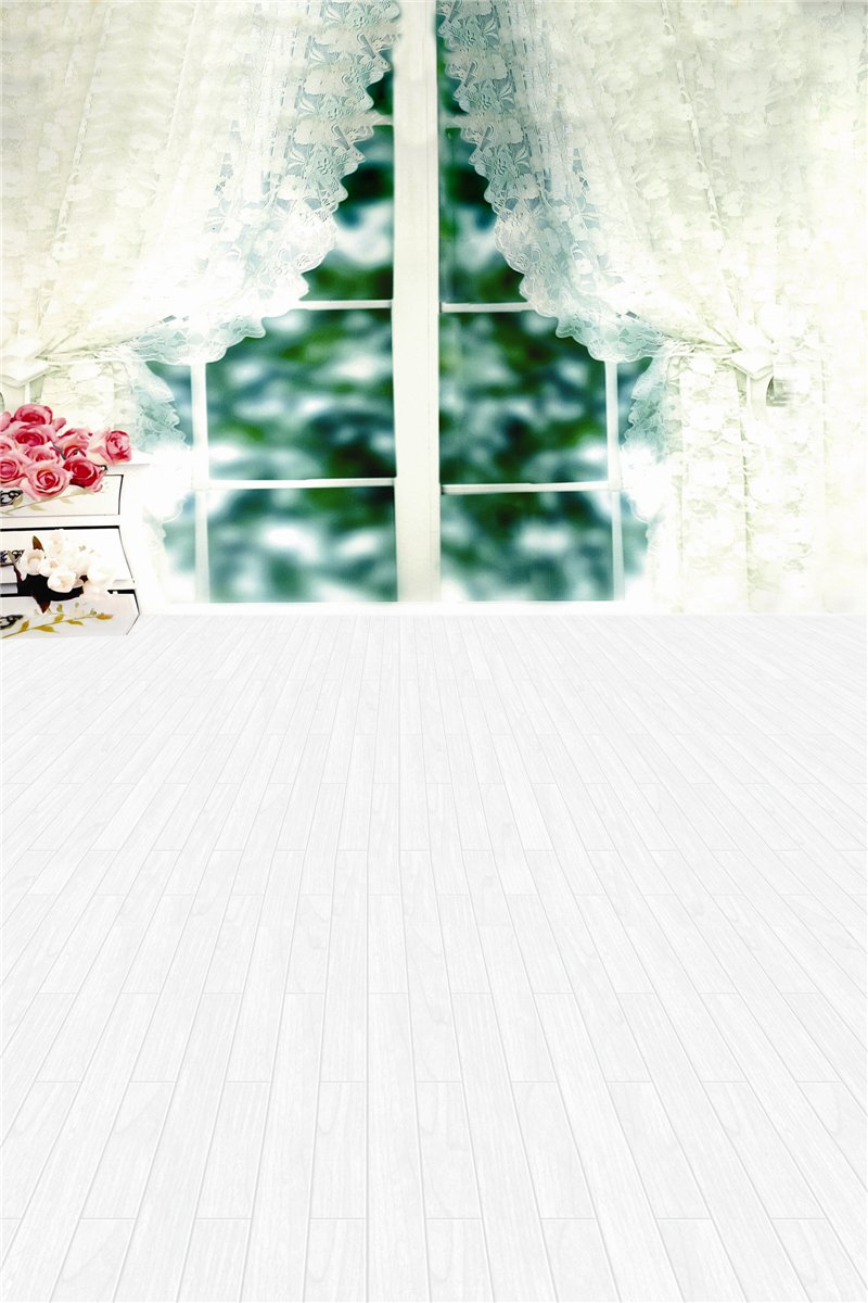 コンピューター印刷写真背景幕 98.4 インチ (幅)59 インチ (高さ) ウィンドウ ホワイト カーテン 1.52m   B01ADLEEFC