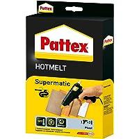 Pattex Hotmelt Supermatic Heißklebepistole/Klebepistole mit elektronischer Temperatursteuerung/Set mit Pattex Heißklebepistole + 2 Klebesticks, Ø 11 mm