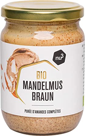 nu3 Crema de almendra para untar - 250 g en tarro de vidrio - Puré de almendra (con cáscara) natural nativa de España e Italia - Mantequilla de ...