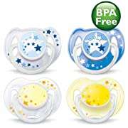 Philips Avent BPA-Free 0-6 Months Night Time Newborn Pacifiers - 4 Pack, Blue/Yellow