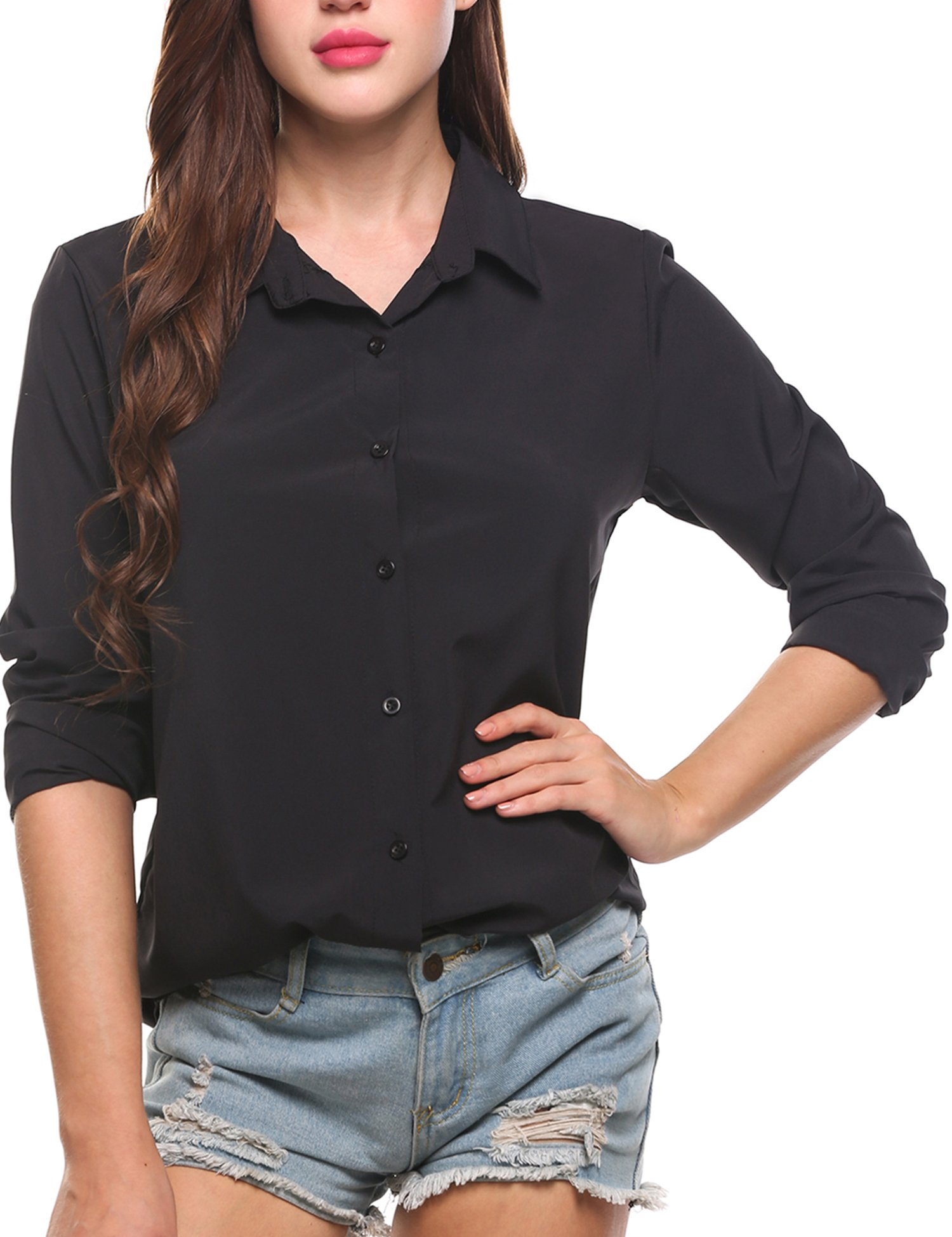Zeagoo Women's Long Sleeve Casual Polka Dot Button up Office Blouse Shirt Top, Solid Black, XX-Large