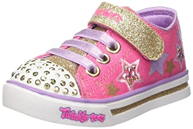 18f3d344f415 Skechers Twinkle Toes Sparkle Glitz Twinklerella Girls Light Up Sneakers  Hot Pink Gold 6