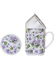 La Cija Violetas - Tisana de Porcelana con Filtro de Acero Inoxidable, Color Blanco