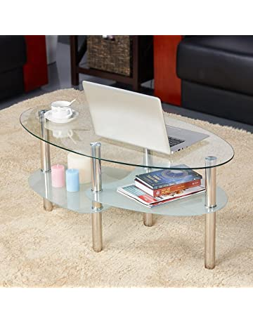 cafb55aeeb0 Yaheetech Round Oval Glass Top Coffee Table Center Table Sofa Side Cocktail  Tables for Living Room