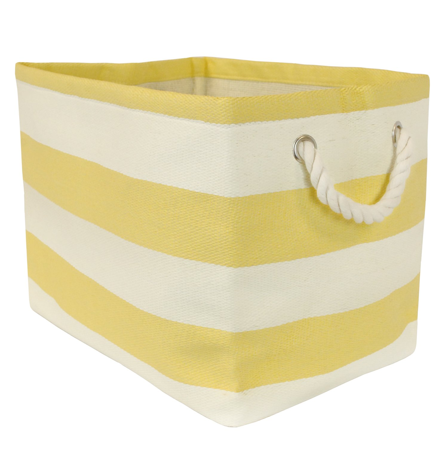 DII Woven Paper Storage Basket or Bin, Collapsible & Convenient Home Organization Solution for Office, Bedroom, Closet, Toys, & Laundry (Large - 17x12x12�), Yellow Rugby Stripe