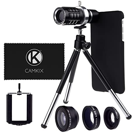 2661b82f29da99 CamKx Camera Lens Kit Compatible with Apple iPhone 6 Plus / 6S Plus ONLY -  12x Telephoto Lens, Fisheye Lens, Macro Lens, Wide Angle Lens, Tripod, ...