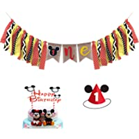 Mickey Mouse Kids First Birthday Decorations Kit, Mickey Mouse 1st Birthday Highchair Banner, Mickey Mouse Hat With Happy Birthday Cake Topper For Baby Girl Boy 1st Birthday Mickey Mouse Party Decorations Supplies.