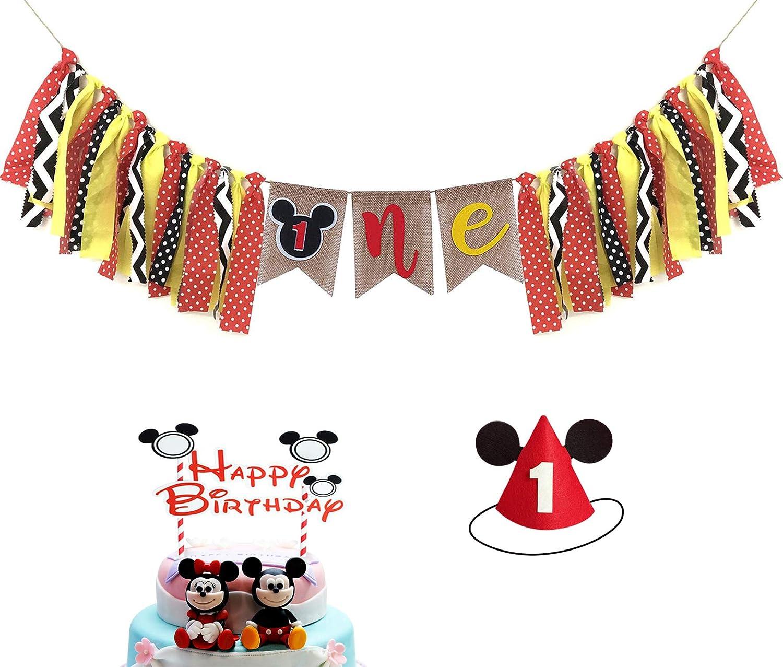 ミッキーマウス 子供用 初めての誕生日 デコレーションキット ミッキーマウス 1歳の誕生日 ハイチェアバナー ミッキーマウスハット ハッピーバースデーケーキトッパー付き ベビー 女の子 男の子 1歳の誕生日パーティー用品 B07PBMWJPR