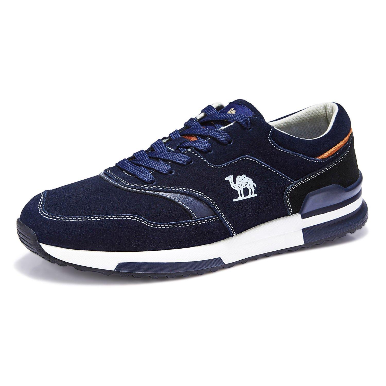 CAMEL CROWN Hombre Correr Sneakers Zapatos Casual Deportes Gimnasio Aire Libre Zapatos con Cordones Azul Oscuro 42EU