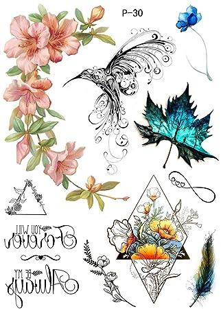 Tattoo Eau Couleurs Fleurs Oiseaux Faux Tatouage P30 Amazon Fr