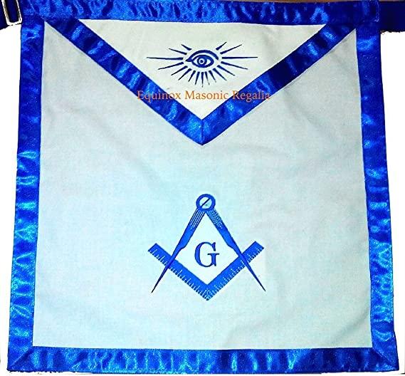 Masonic Master Mason Blue Lodge Apron Blue Grosgrain Ribbon Border size 16 inches wide by 14 inches High Made with Belt