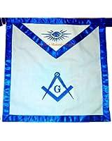"Masonic Master Mason Apron 16x16"" White Cloth Machine Embroidered 1""inch Royal Blue Satin Borders by Equinox Masonic Regalia"